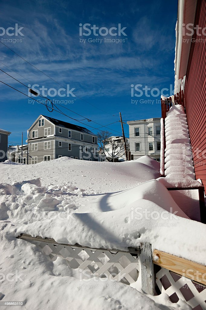 Boothbay Harbor, Maine deep in snow stock photo