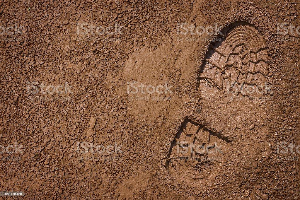 Bootprint on mud royalty-free stock photo