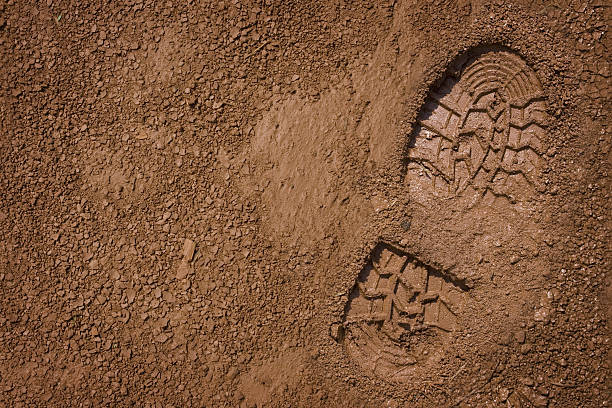 Bootprint on mud stock photo