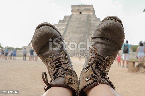Boots in chichen Itza's pyramid