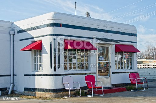 Carthage, United States - December 9, 2014: The Boots Court Motel is one of the original lodging accommodations along Route 66.  Its retro look, signs touting a radio in every room and air conditioning, are all original design from the 1950's.