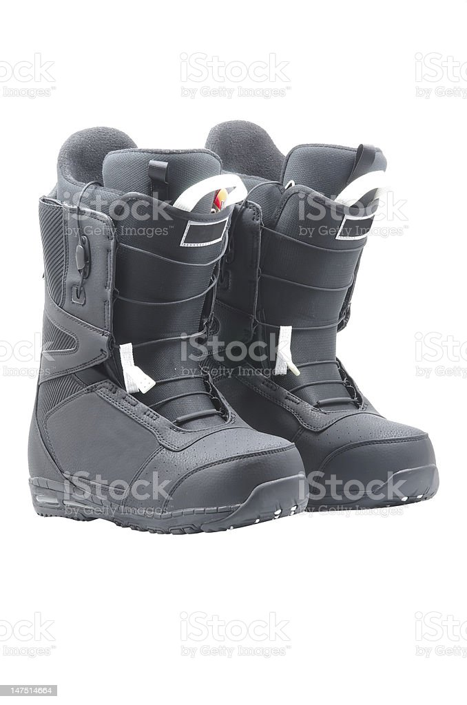 Boots for snowboard stock photo