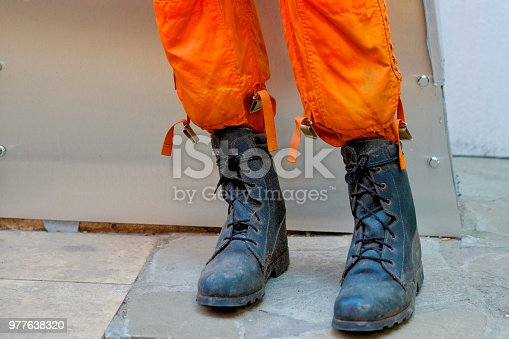 istock Boots of firefighter uniform for fire protection. 977638320