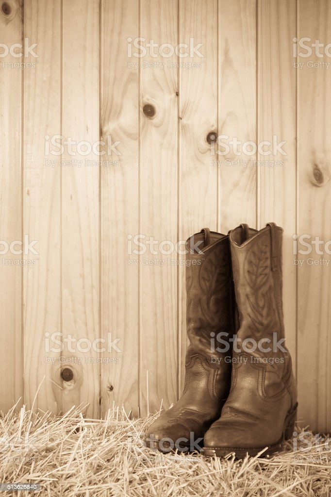 Boots on hay bale stock photo