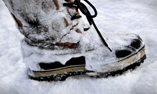 Boots on snow
