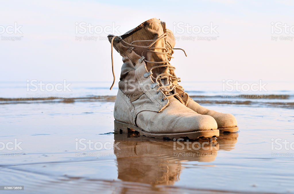 Boots with a shoelaces stock photo