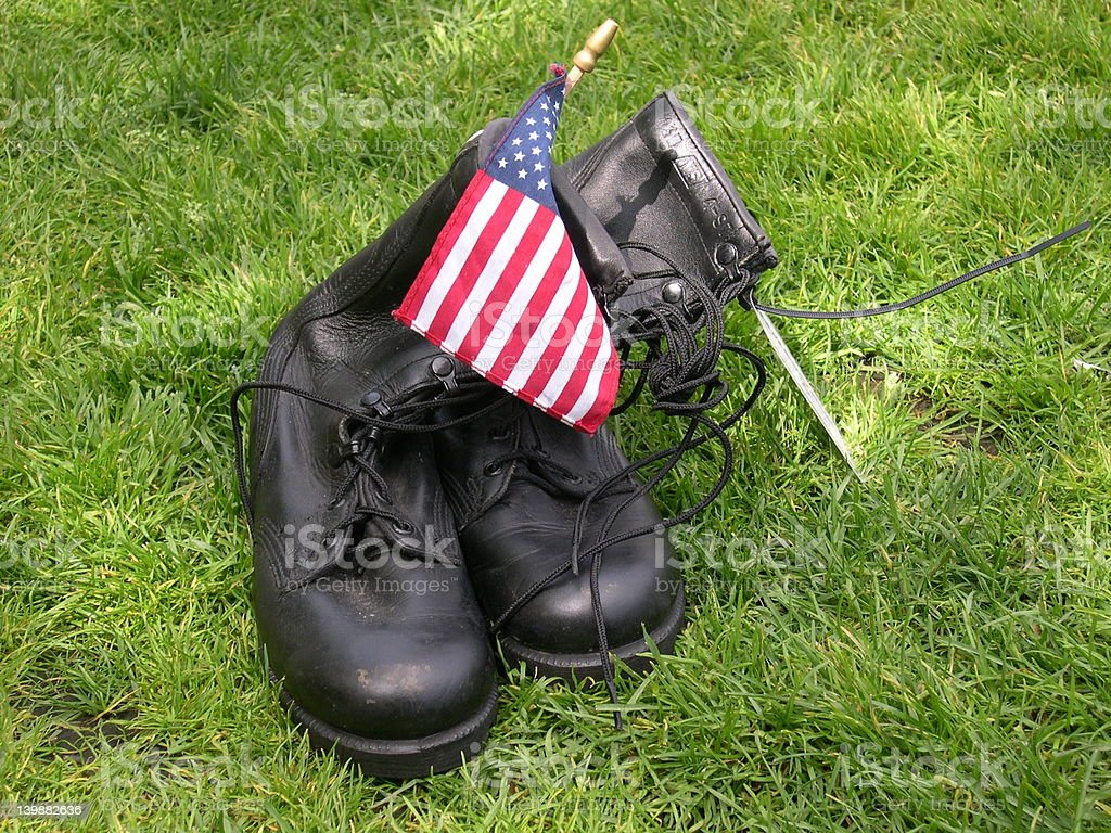 Boots with  American flag. royalty-free stock photo