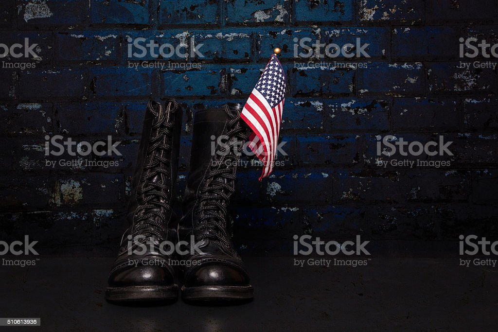 Boots with Flag stock photo