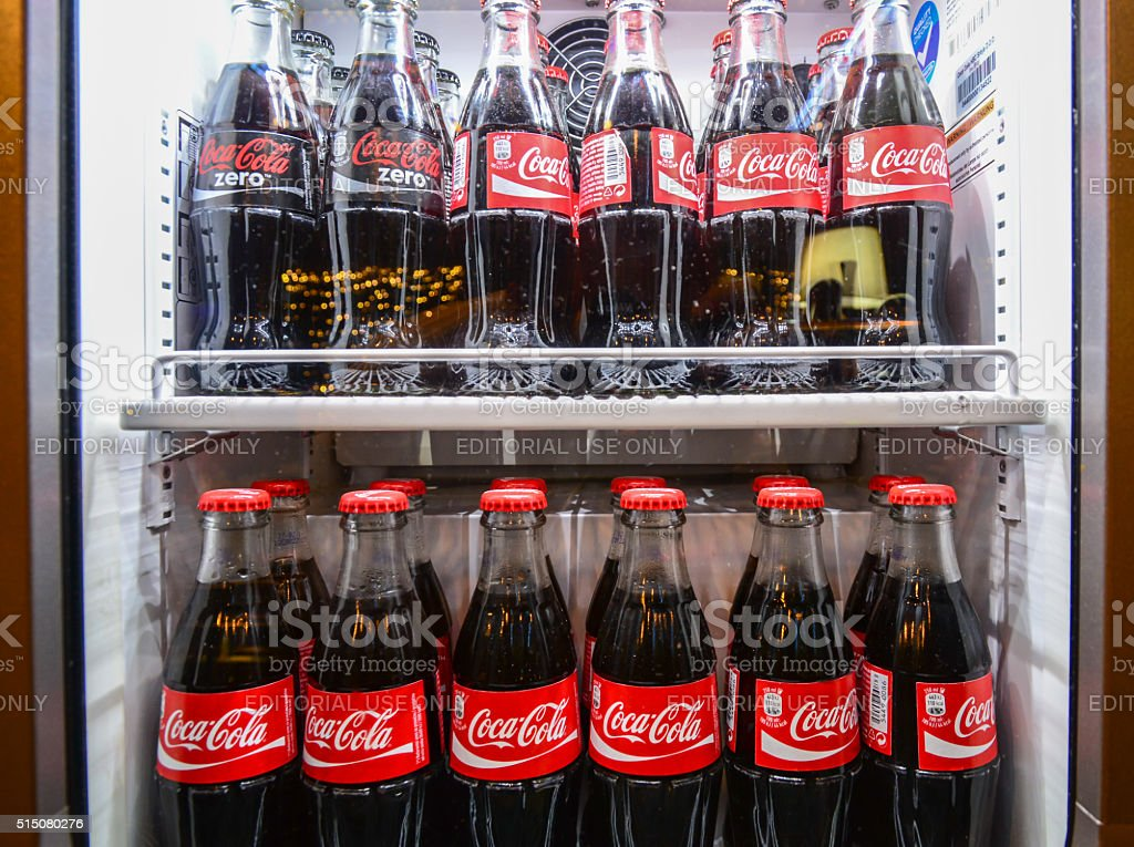 Boottles of coca-cola in the restaurant stock photo