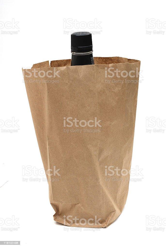Booze bottle in brown bag stok fotoğrafı
