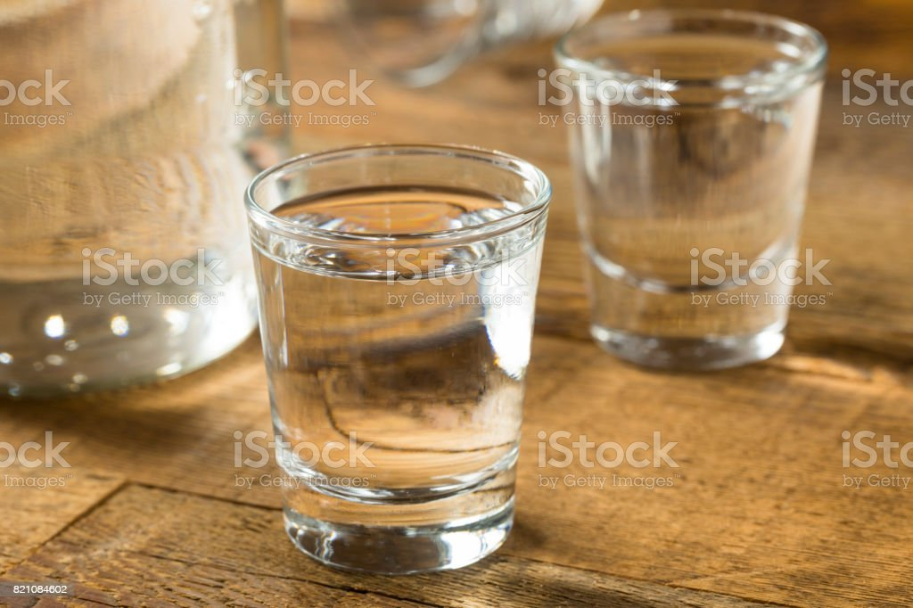 Boozy Alcoholic American Moonshine Shots stock photo