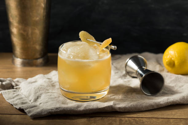 Boozy Alcoholic Penicillin Cocktail stock photo