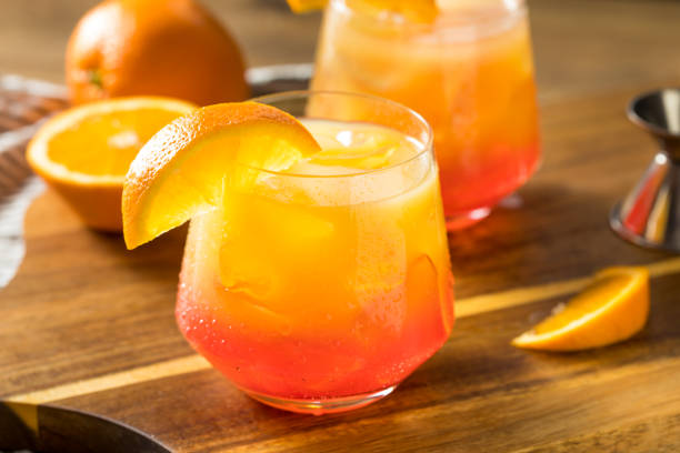 Boozy Refreshing Tequila Sunrise Cocktail stock photo