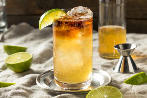 Boozy Rum Dark and Stormy Cocktail stock photo