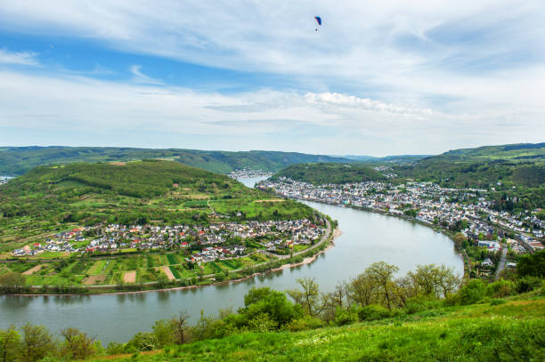 Boppard and Rhine River stock photo