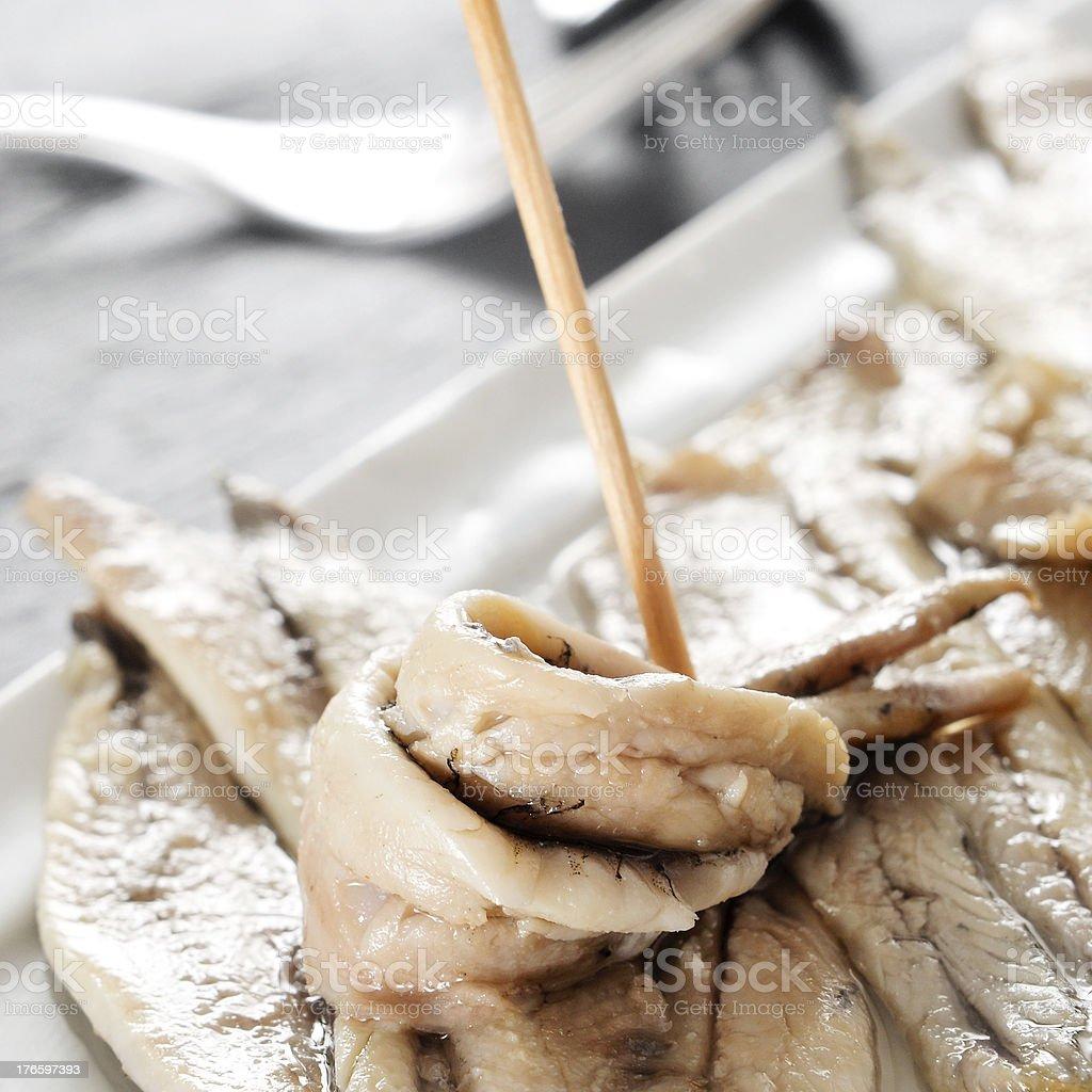 boquerones en vinagre, spanish anchovies marinated in vinegar royalty-free stock photo