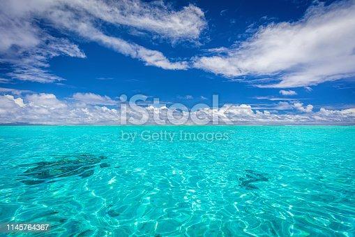 Bora Bora South Pacific Ocean Seascape. Beautiful turquoise crystal clear lagoon of famous Bora Bora Island. Bora Bora, Society Islands, French Polynesia, South Pacific Ocean.