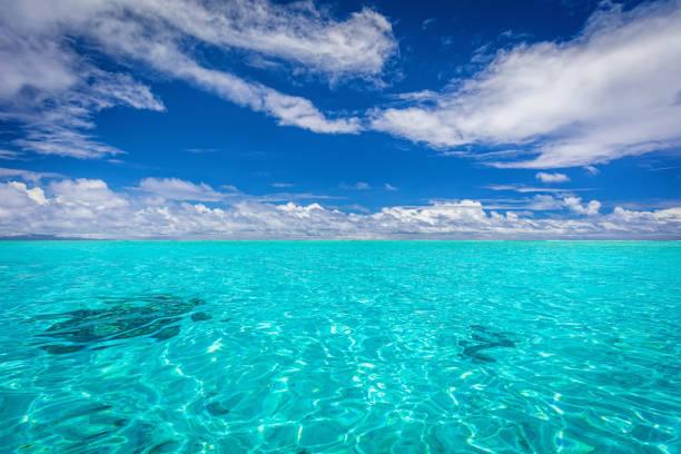 Bora Bora Crystal Clear Lagoon Seascape, French Polynesia stock photo