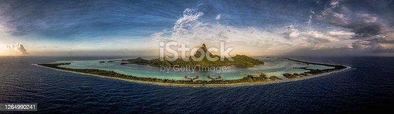 Aerial panorama of Bora Bora, a beautiful island in French Polynesia