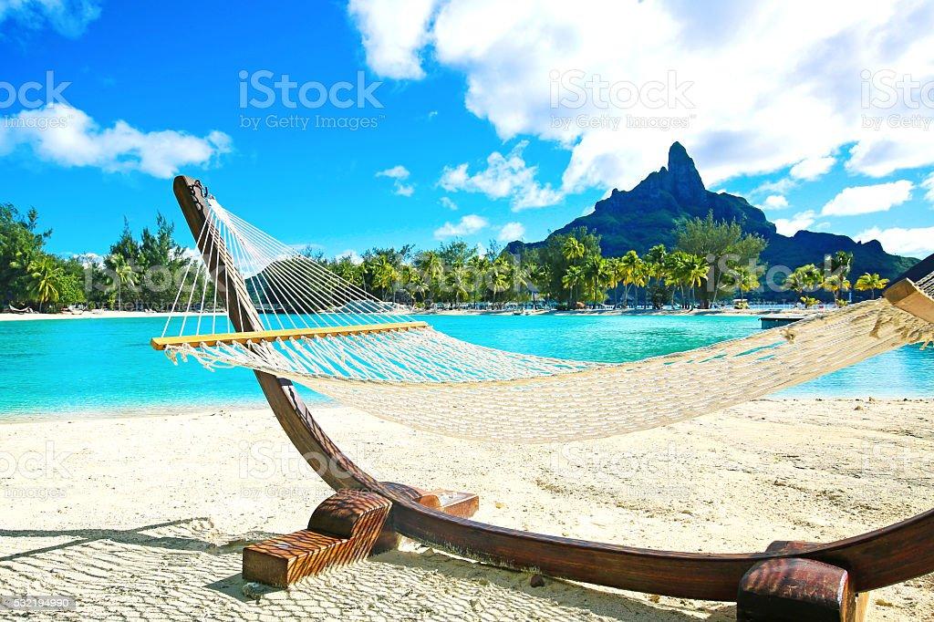 Bora Bora Hammock stock photo