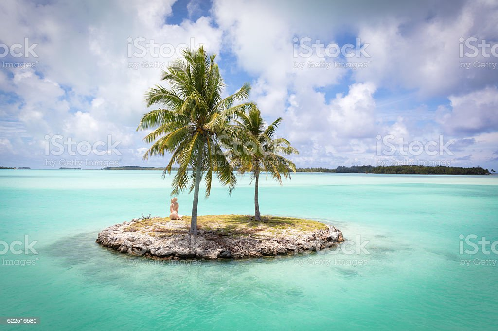 Bora Bora Island Airport Lagoon Islet French Polynesia stok fotoğrafı