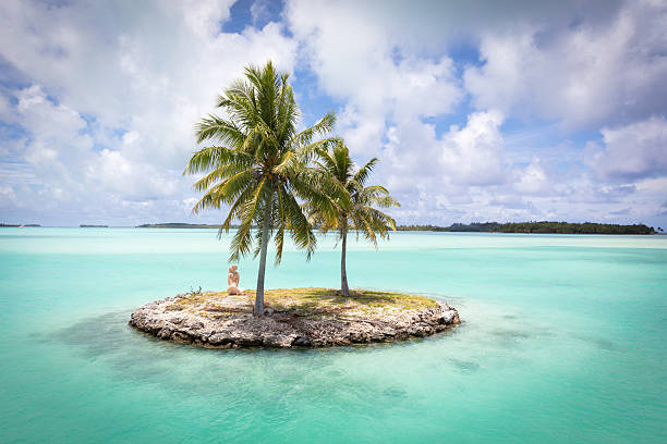Bora Bora Island Airport Lagoon Islet French Polynesia stock photo
