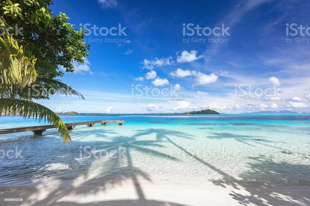 Bora Bora Island Beautiful Beach Jetty French Polynesia stock photo