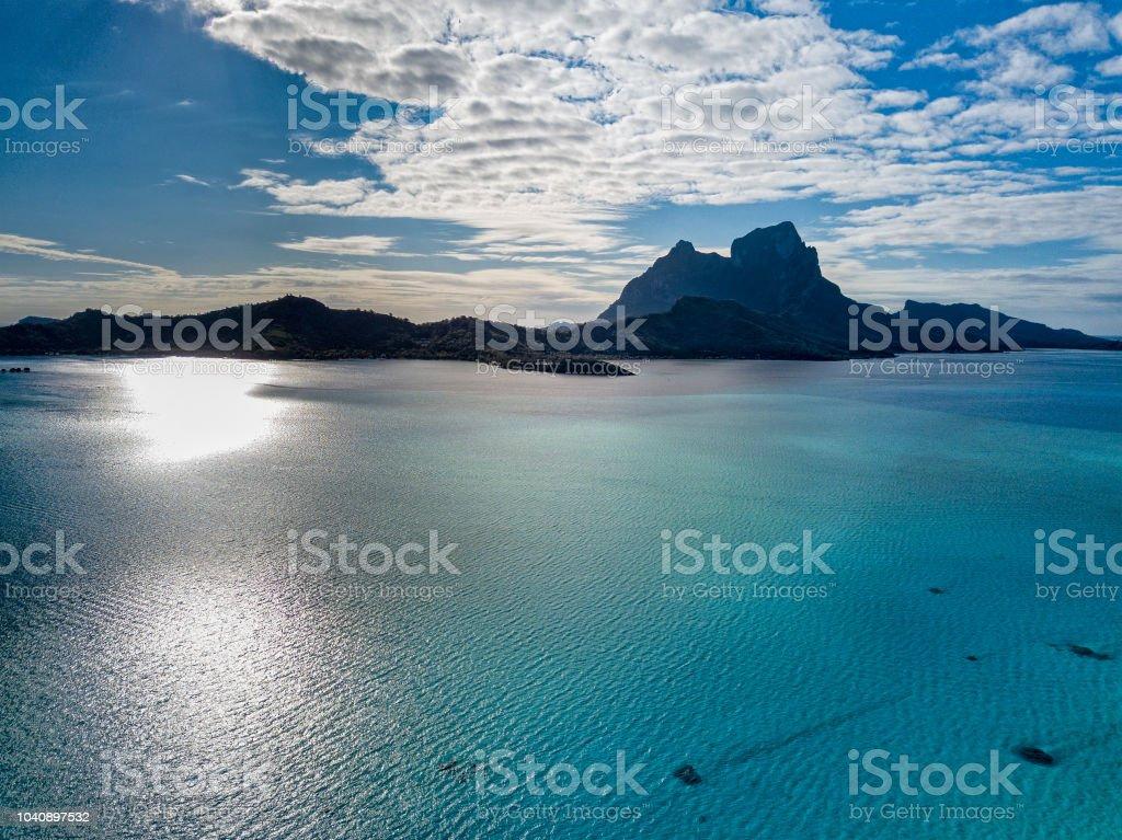 Bora Bora Island French Polynesia Lagoon Aerial View Stock
