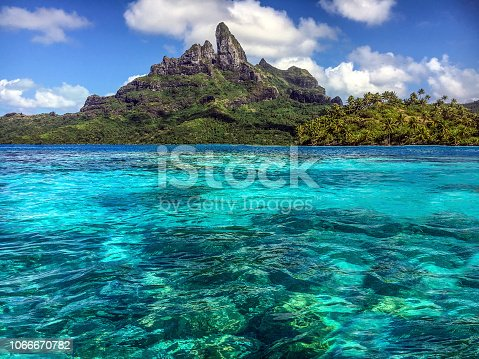 View from my kayak in the lagoon by Bora Bora. French Polynesia, South Pacific Ocean.