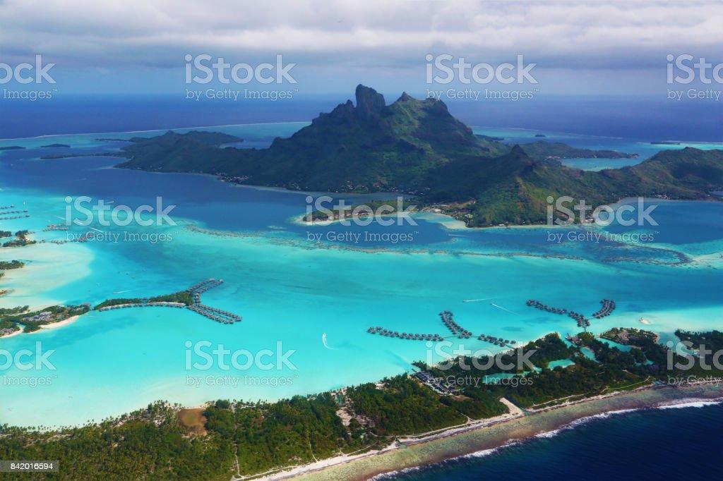 Bora Bora lagoon from the air stock photo