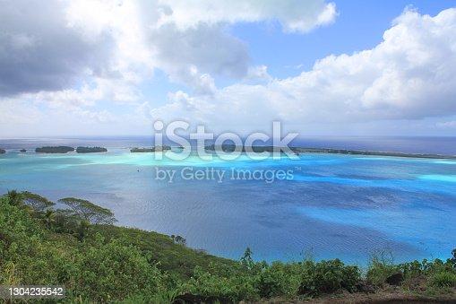 Bora Bora sea view island, lagoon with airport. French Polynesia
