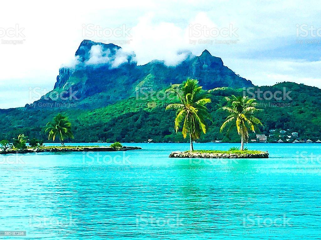 Bora Bora Tahiti Mt Otemanu stock photo
