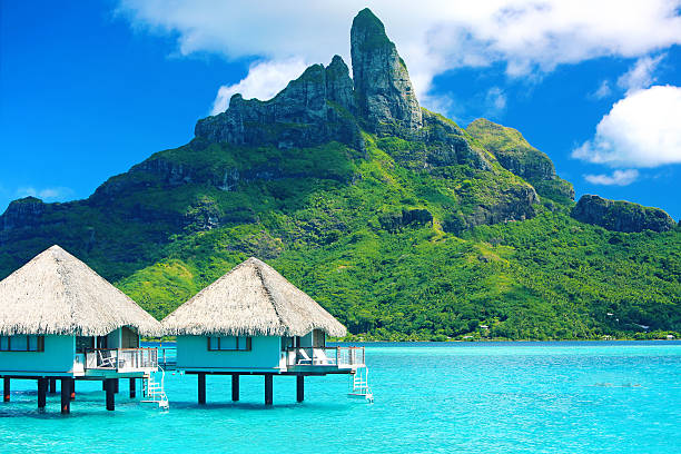 bora bora tahiti mt otemanu - pacific islands stock pictures, royalty-free photos & images