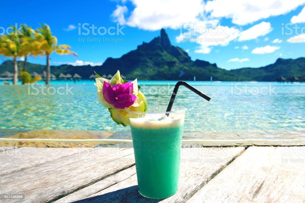 Bora Bora Tahiti Tropical Drink stock photo
