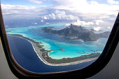 Coming in for a landing on beautiful Bora Bora. French Polynesia, South Pacific Ocean.