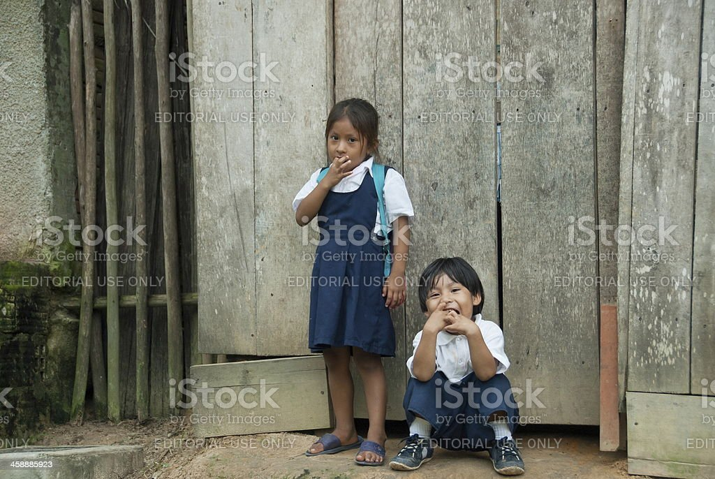 Bora Indian children after study in elementary school. stock photo