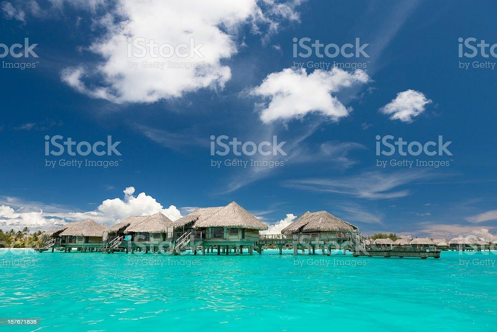 Bora-Bora Lagoon Stilt Houses  Atoll Stock Photo