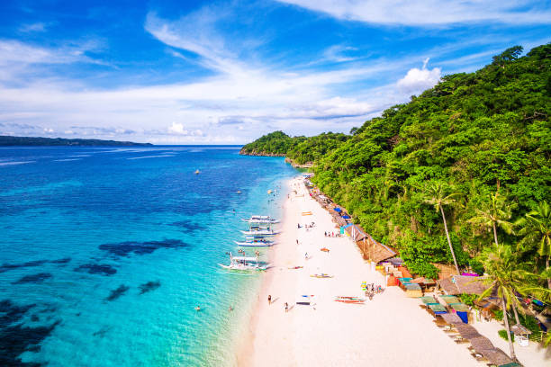 Boracay Island Aerial View, Western Visayas, Philippines stock photo