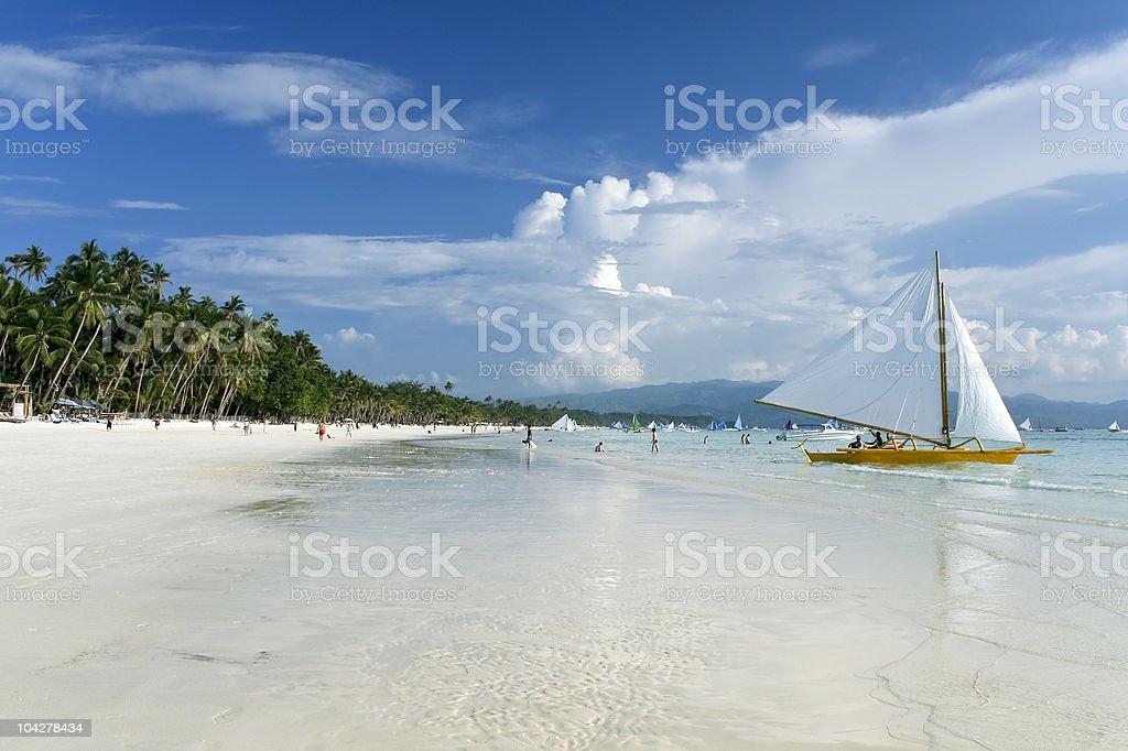 boracay island white beach sailing philippines stock photo