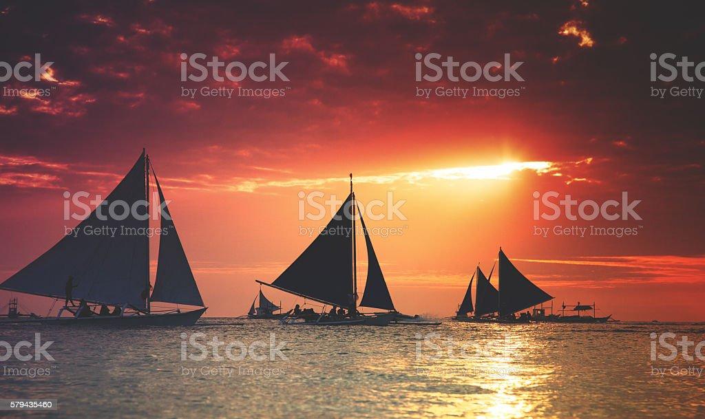 Boracay sunset stock photo