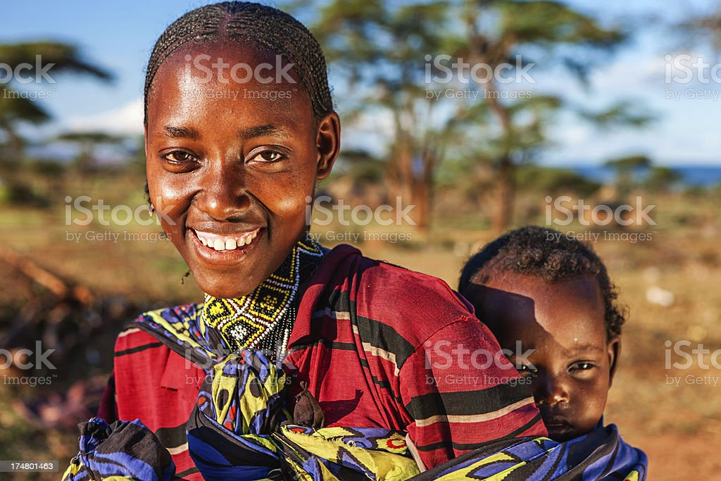 Borana tribal woman and baby in Ethiopia, Africa stock photo