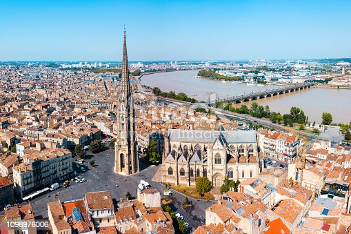 Bordeaux aerial panoramic view. Bordeaux is a port city on the Garonne river in Southwestern France