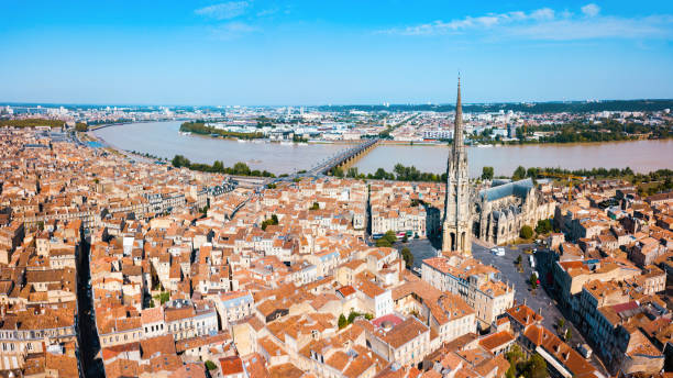 Bordeaux aerial panoramic view, France stock photo