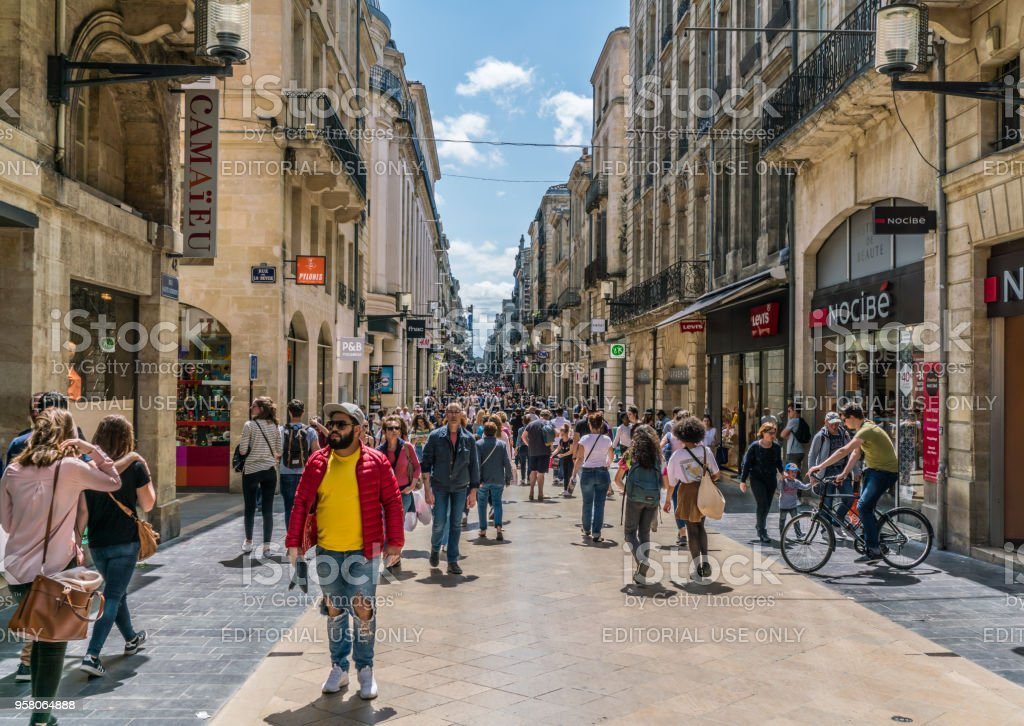 Bordeaux, France, 9 may 2018 -tourists and locals shooping in the main shopping street 'Rue Sainte-Catherine' stock photo
