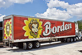 9/26/2019 Hialeah, FL-Borden refrigerated tractor trailer with colorful logo wrap.