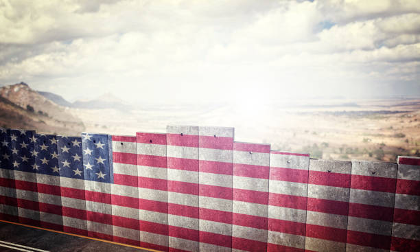 border barrier concept border barrier concept with usa flag 3d rendering image international border barrier stock pictures, royalty-free photos & images