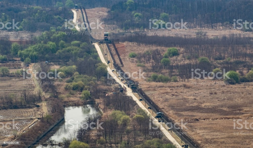 Border between North Korea and South Korea stock photo
