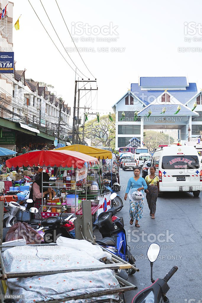 Border between Thailand and Myanmar at late afternoon stock photo