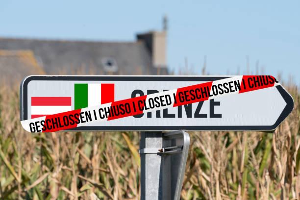 Border Closed Italy Austria stock photo