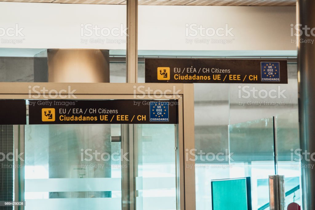 Border control at airport stock photo